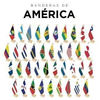 Banderas de América en tela