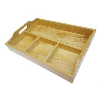 Charola de madera de 4 divisiones