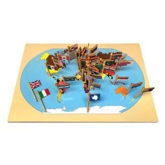 Mapamundi con banderas - Montessori